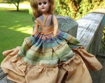 Vintage Hard Plastic Doll--Jointed Arms--Striped Taffeta Dress--Blonde Doll--Creepy Halloween Decor