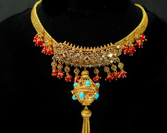 Exotic Pomander Necklace Gypsy necklace Etruscan perfume large fob turquoise bead tassel gold mesh Egyptian chandelier rhinestone choker