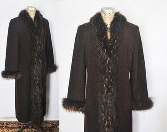 Brown Fox Fur Lambs Wool Coat / Marvin Richards / Small