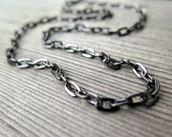 mens necklace. unisex black jewelry. gunmetal steel chain. splurge.