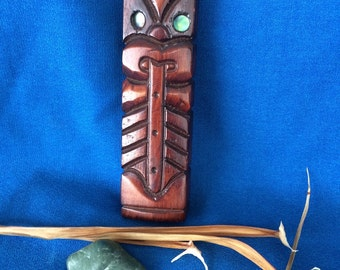Vintage Wooden Tiki God Statue Made in New Zealand Maori Hand Carved