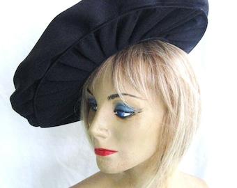 30s 40s Vintage Hat Wide Brim, Navy Blue Rayon Faille,  Deep Bonnet Crown, Pleated Brim, Versatile Wearing Swept Off Face or Tilt, WWII Era