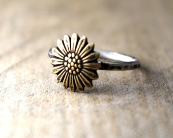 Cute Boho Flower Ring, Hipster Ring, Stack Ring, Sterling Silver, Gold Flower Ring, Antiqued Ring, Hammered Band, Silver Ring, Fall Ring