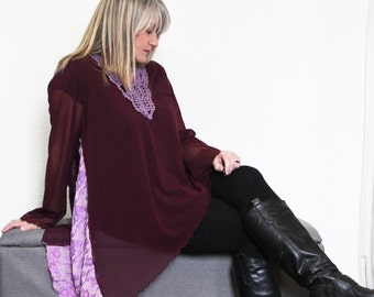 SALE upcycled clothing .  M - L . aysmetrical tunic