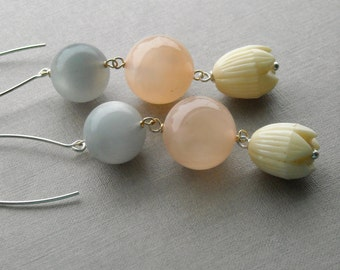 a winters love earrings - vintage lucite and sterling - pastels - tulip