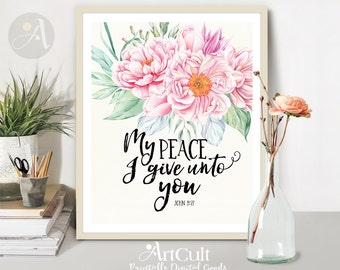 "Printable wall Art typography artwork digital download Spiritual Scripture Bible verse ""My peace I give unto you"" for Home decor by ArtCult"