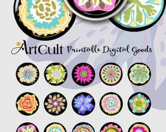 """1"""" (25mm) and 30mm size printable circle images HAPPY FLOWERS digital download for glass and resin pendants jewelry, ArtCult designs"""
