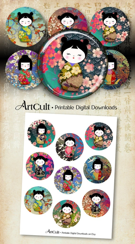 2.5 inch Circles Printable Download CHIYOGAMI WASHI DOLLS Digital Collage Sheet Kokeshi images for Pocket Mirrors cupcake toppers magnets