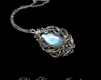 Labradorite and Sterling Silver Pendant - Light Blue Teardrop