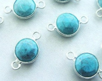 Turquoise Bezel Connector, 8mm Gemstone Links, 925 Sterling Silver Double Sided Faceting, BULK WHOLESALE