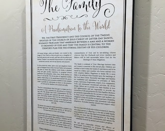 """12x18"""" LDS Family Proclamation to the World Canvas Wrap Sign"""
