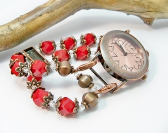 Copper Watch, Stretch Watch Band, Copper and Red Interchangeable Watch, Watch Bracelet, Copper Wrist Watch