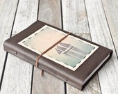 Large Leather Journal with Schooner, Rustic Sketchbook, Cabin Guestbook