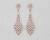 Rose Gold Art Deco earrings, Rose Gold Chandelier earrings, Swarovski Bridal earrings, Crystal Wedding earrings, Bridal jewelry, Vintage