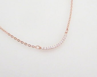 Delicate Rose Gold necklace, Rose Gold charm necklace, Layering jewelry, Bridal jewelry, Simple Wedding necklace, CZ necklace, Rose Gold bar