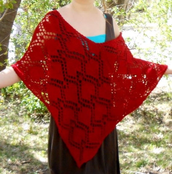 knit poncho, lace shawl, cape, silk and merino wool, pullover, ruby, hearts, Valentine