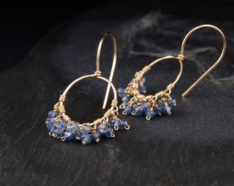 Sapphire dangle earrings, small gold hoop earrings, blue and gold, September birthstone jewelry - On the Fringe