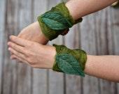 Felt Melted Moss Matching Leaf Cuff Pixie Bracelets OOAK
