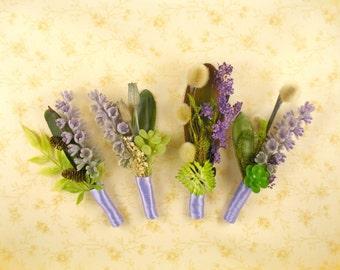 Succulents wedding pin lavender buttonhole succulent boutonniere lavender bridal party flowers dried plants bout lavender groomsmen pin
