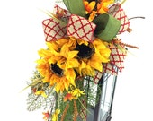 Fall Sunflower Lantern Swag, Sunflower Decor, Sunflower Lantern, autumn lantern floral arrangement, Fall Mantle Decor, Fall Sunflower