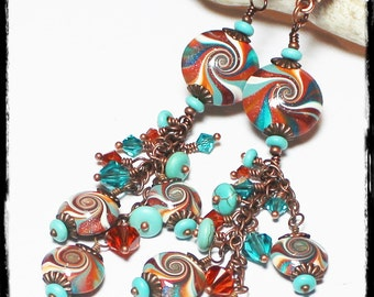 Mayan Riviera... Handmade Beaded Jewelry Earrings Polymer Clay Crystal Turquoise Terra Cotta Copper Orange Silver Swirl Spiral Long Posts