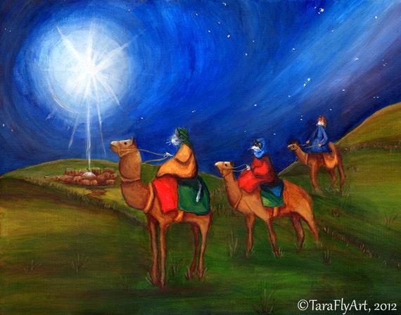 Three Wise Cats Star of Bethlehem Christmas Holiday Fine Art Print 5x7