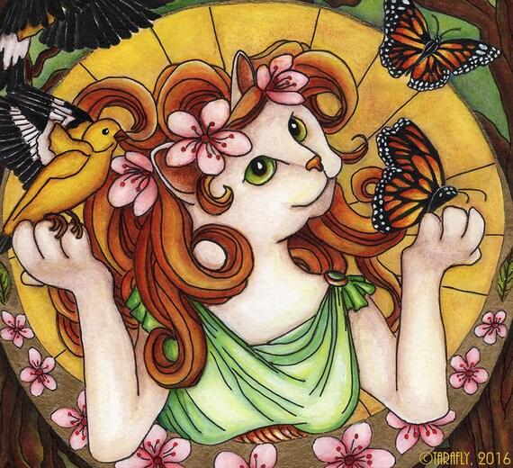 Fantasy Cat Art Art Nouveau Spring Nature 5x7 Fine Art Print