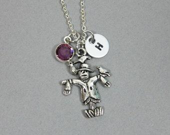 Scarecrow Necklace - Wizard of Oz, Personalized Handstamp Initial Name, Customized Swarovski crystal birthstone