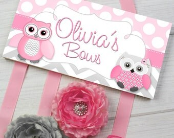 HAIR BOW HOLDER - Personalized Gray Pink Owls HairBow Holder - Bows and Clippies Organizer - Girls Personal Hair Bow and Clip Hanger Hb0012