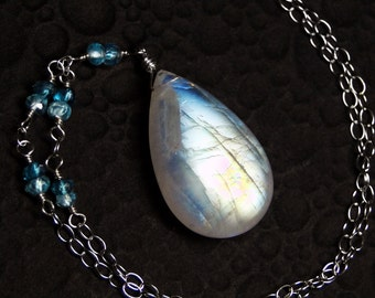 Moonstone Necklace, BIG Rainbow Moonstone, London Blue Topaz, Sterling Silver - Sea Mist by CircesHouse on Etsy