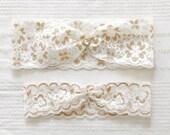 Gold lace garter set, gold wedding garter set, bridal garter belt - 543