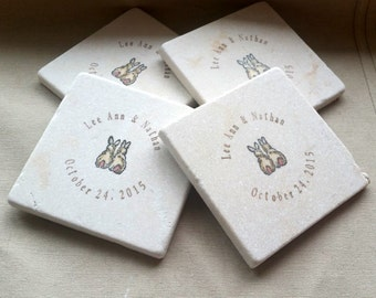 Personalized Love Bunny Wedding Favor Coasters - Personalized Party Favor - Wedding Keepsake - Set of 25