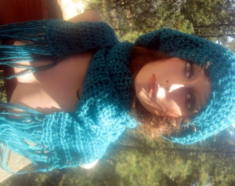 Slouchy Beanie Hat Scarf Set Teal Blue Sparkly Vegan hand Crocheted