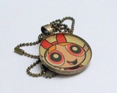 Necklace PowerPuff Girl Blossom RECYCLED into long antiqued brass pendant necklace