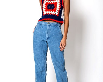 The Vintage Cottage Red Blue and White Knit Vest Tank