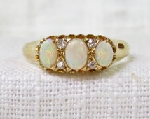 Victorian 18k Gold Opal and Diamond Ring