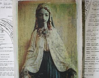 Distressed, Mary, Original Miniature Art, 4 1/4 x 6, Hindu, Blue, Virgin Mary, Statue, Icon