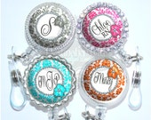 Flower Damask Retractable Id Badge Reel Holder in 8 Colors, Personalize with Monogram, Initial, Name or Occupation Title (A364)
