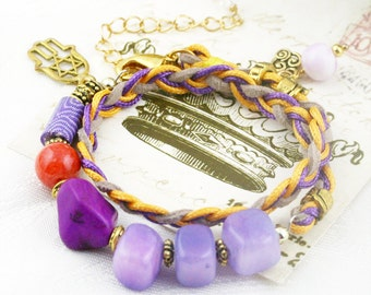 Violet Mist - double wrap braided bracelet