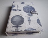 "Travel Journal, blank sketchbook with up-cycled hardcover, multimedia art papers, ""Aeronautica"""
