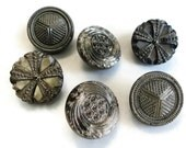 Silver Glass Vintage Buttons - 6 Antique Black with Pewter Tone Luster Three Pairs 3/4 inch 19mm for Jewelry Beads Sewing Notions Knitting