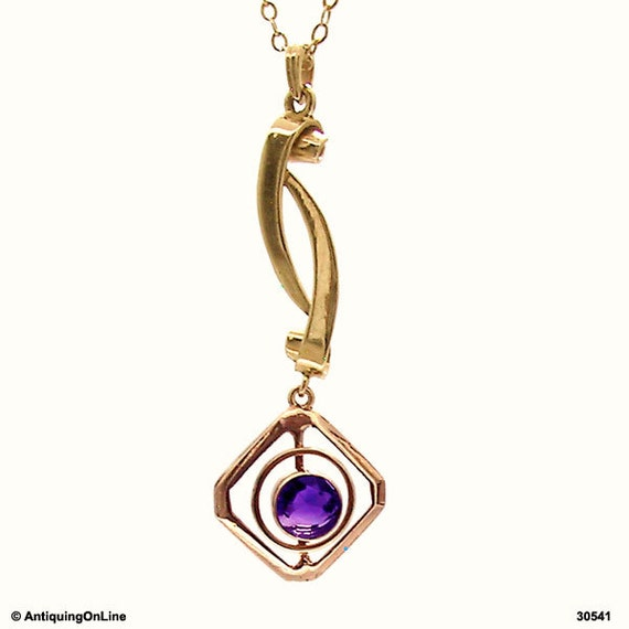 10K Retro Purple Amethyst Pendant Necklace Vintage Modernist 10K Gold Lavalier Pendant Necklace Gift for Her