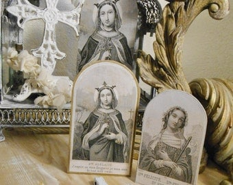 Set of 2 Prop Up Paper Antique French Holy Card Saints