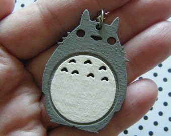 Forest spirit hand painted Totoro wooden charm necklace