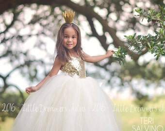 NEW! The Juliet Dress in Gold Sequins and Ivory - Flower Girl Dress