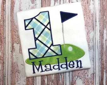 Golf Birthday Shirt - Golf Shirt - Personalized Golf Shirt - Golf Shirt for Boys - Golf Party Shirt - Argyle Shirt - First Birthday Shirt