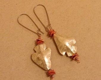 silver copper fish  earrings