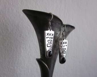 Sterling Silver and Black Onyx Native American earrings