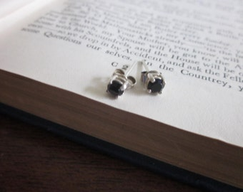 Sterling Silver and Black Cubic Zirconia stud earrings