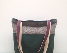 Green Laptop Bag. Recycled Upholstery Tote Bag. Waxed Cotton Canvas Tote Bag. Every Day Bag. Carry All Canvas Shoulder Bag.